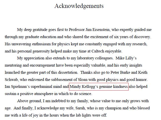Thesis Acknowledgement Sample